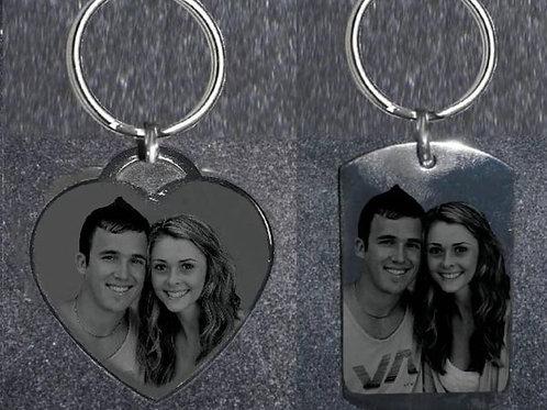 Personalized Gift Set -Dog Tag Keychain & Heart Keychain