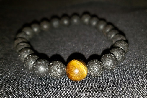 NATURAL Tiger Eye Lava Rock Bracelet (Decision & $ Making, Health Benefits)
