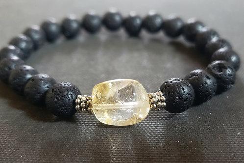 NATURAL Citrine Lava Rock Bracelet (Cleanse aura, remove negative energy,