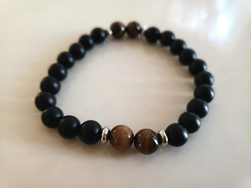Onyx Tiger Eye Bracelet(healing,Health benefits,calm emotion,decision & $ Making