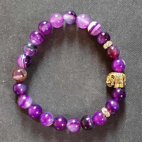 NATURAL Purple Agate Bracelet(protection,cleanses aura,remove negative energy(