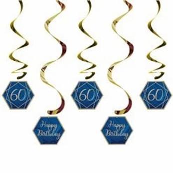 60th Navy And Gold Birthday Hanging Swirls