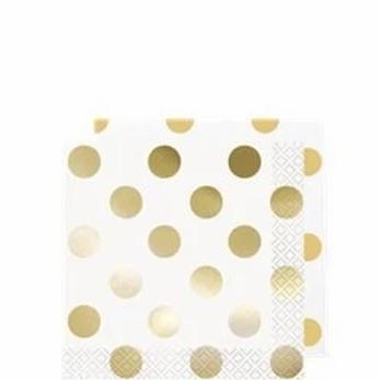Metallic Gold Dot Party Napkins