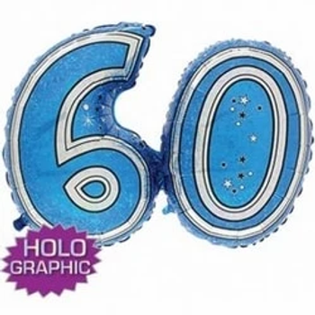 Happy 60th Birthday Number Joined Foil Party Balloon Blue