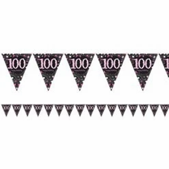 100th Prismatic Party Foil Bunting Pink