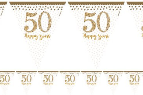 50th Gold Sparkling Wedding Anniversary Flag Bunting