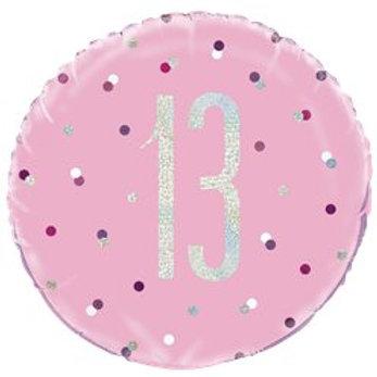 13th Birthday Glitz Foil Balloon Pink