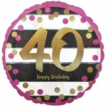 40th Pink & Gold Milestone Foil Balloon
