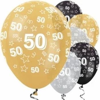 50th Birthday Gold Mix Stars Latex Party Balloons