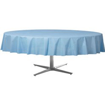 Baby Blue Round Plastic Tablecover