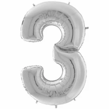 """64"""" Foil Number 3 Balloon Silver"""