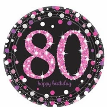 80th Birthday Party Plates Pink