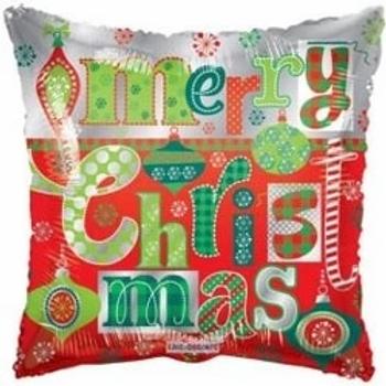 "Merry Christmas Ornaments Square Shape 18"" Foil Balloon"