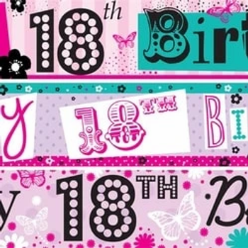 18th Birthday Pink Mixed Paper Banners