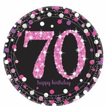 70th Birthday Party Plates Pink