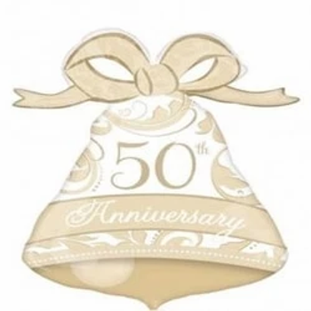 """50th Anniversary Gold Bell Supershape 22"""" Foil Balloon"""