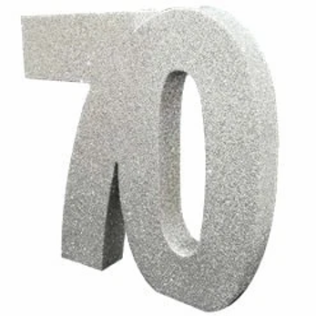 70th Birthday Number Centrepiece Silver