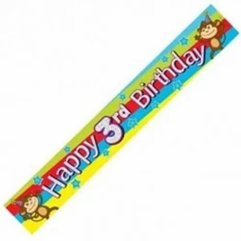 Happy 3rd Birthday Party Banner
