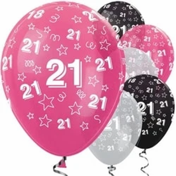 21st Birthday Pink Mix Star Balloons Size 12""