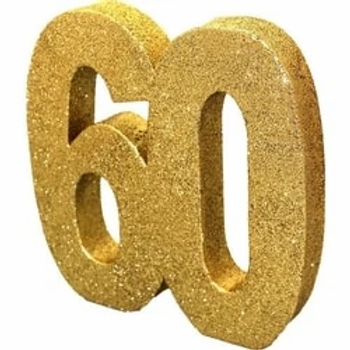 60th Number Table Centrepiece Gold