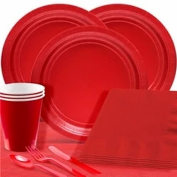 Red Tableware Party Pack For 20 People
