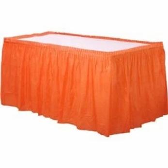 Orange Plastic Tableskirt