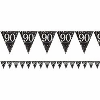 90th Prismatic Party Foil Bunting Silver