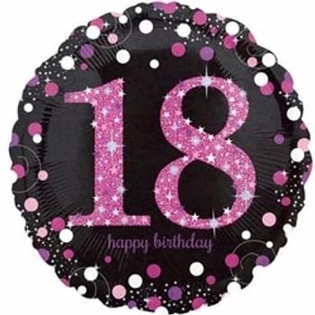 18th Birthday Pink Sparkling Celebration Foil Balloon