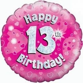 Happy 13th Birthday Holographic Foil Balloon Pink