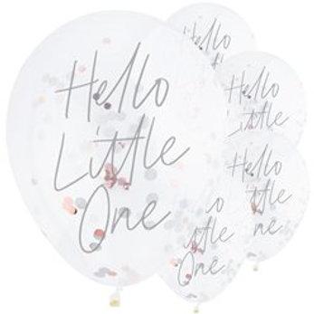 Hello Little One Confetti Latex Balloons
