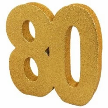 80th Birthday Gold Number Centrepiece