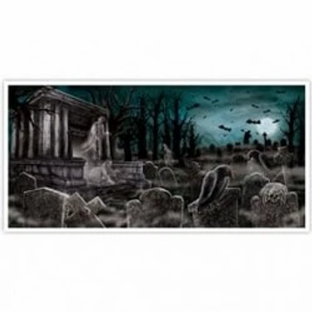Scary Halloween Cemetery Large Foil Banner