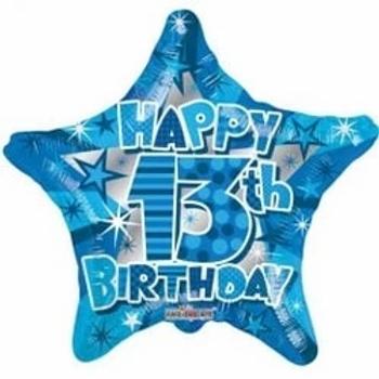 "Happy 13th Birthday Blue Star 18"" Foil Balloon"