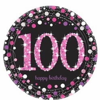 100th Birthday Party Plates Pink