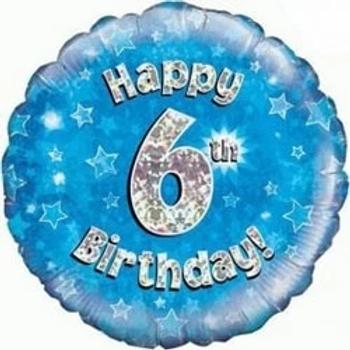 Happy 6th Birthday Foil Balloon Blue