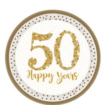 50th Gold Sparkling Wedding Anniversary Plates