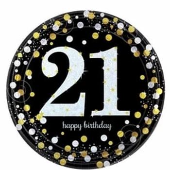 21st Gold Celebration Paper Plates