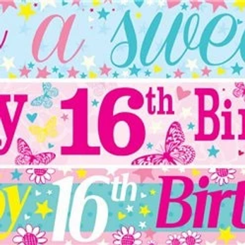 16th Birthday Paper Banners 3 designs