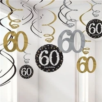 60th Birthday Celebration Hanging Swirls