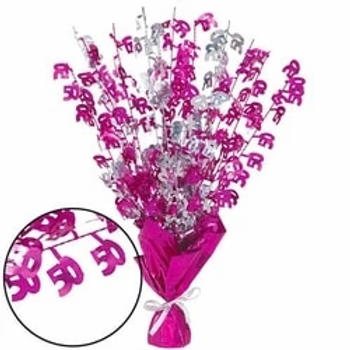 50th Birthday Party Foil Pink Table Centrepiece Decoration