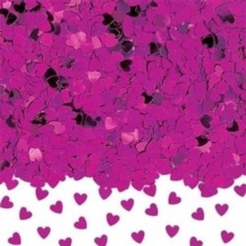 Hot Pink Sparkle Hearts Metallic Confetti