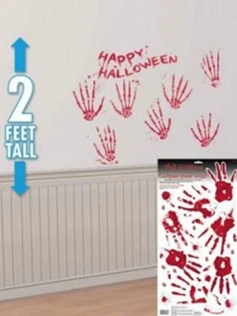 Halloween Bloody Hand Prints Wall Grabber