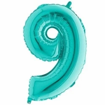 """Tiffany Blue 40"""" Foil Number 9 Balloon"""