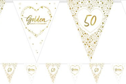 50th Golden Wedding Anniversary Flag Bunting