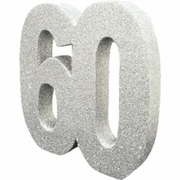 60th Number Party Table Centrepiece Silver