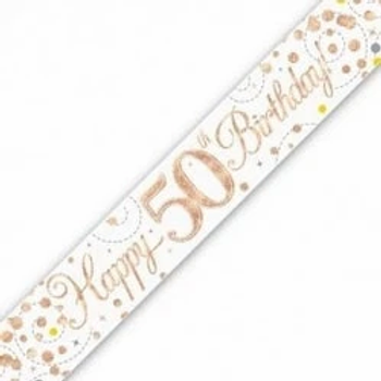 Happy 50th Birthday Rose Gold Party Banner
