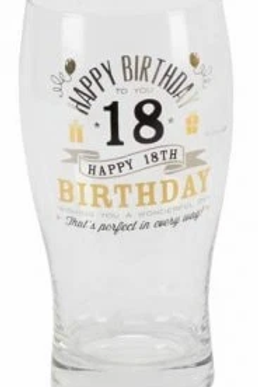 Happy Birthday Milestone Pint Glasses 18th