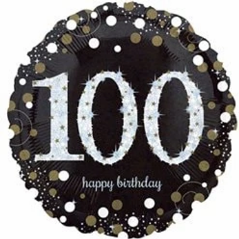100th Birthday Party Foil Balloon Gold