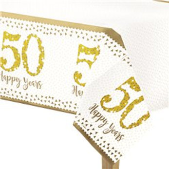50th Gold Sparkling Wedding Anniversary Plastic Tablecover