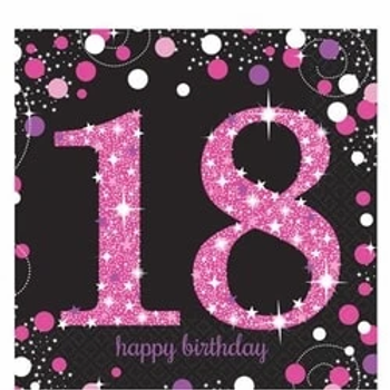 18th Birthday Pink Party Napkins